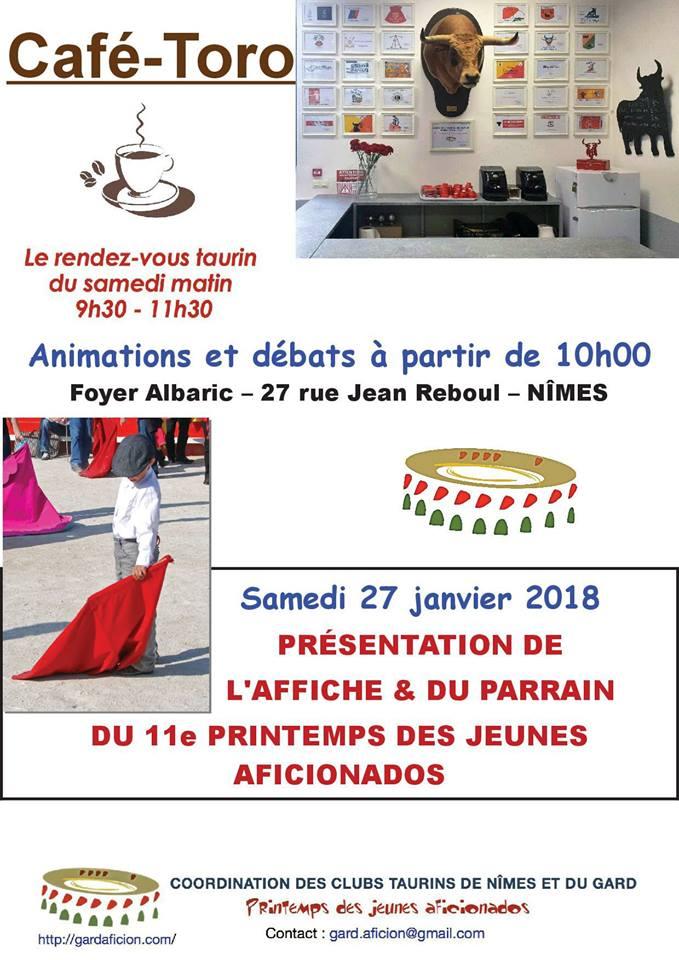 Café toro - Présentation de l'affiche et du parrain du Printemps des jeunes aficionados 2018 @ Nîmes