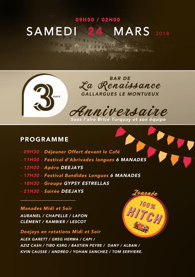 GALLARGUES LE MONTUEUX - Journée taurine - 3eme anniversaire Bar la renaissance