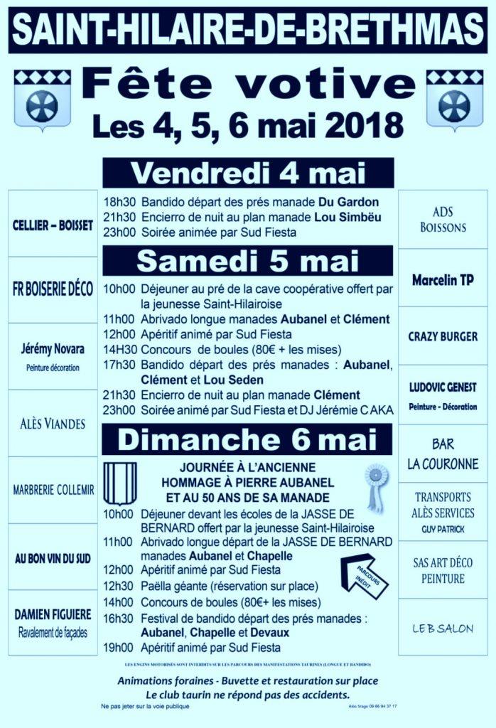 FETE VOTIVE ST HILAIRE DE BRETHMAS 4,5,6 mai 2018