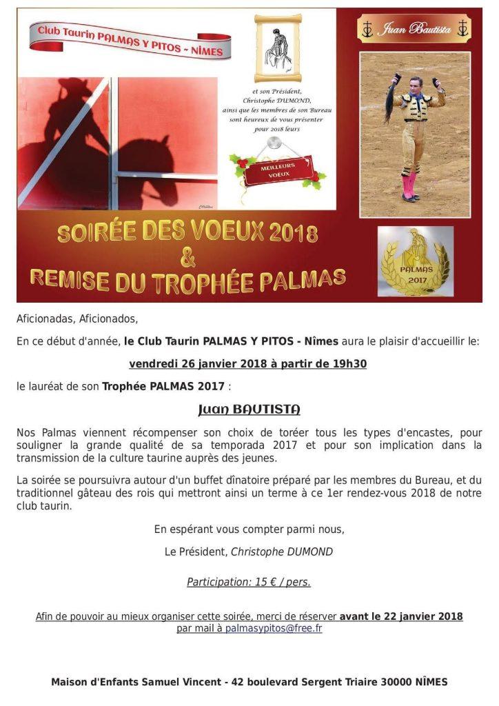 Soirée remise du trophée Palmas @ Nîmes