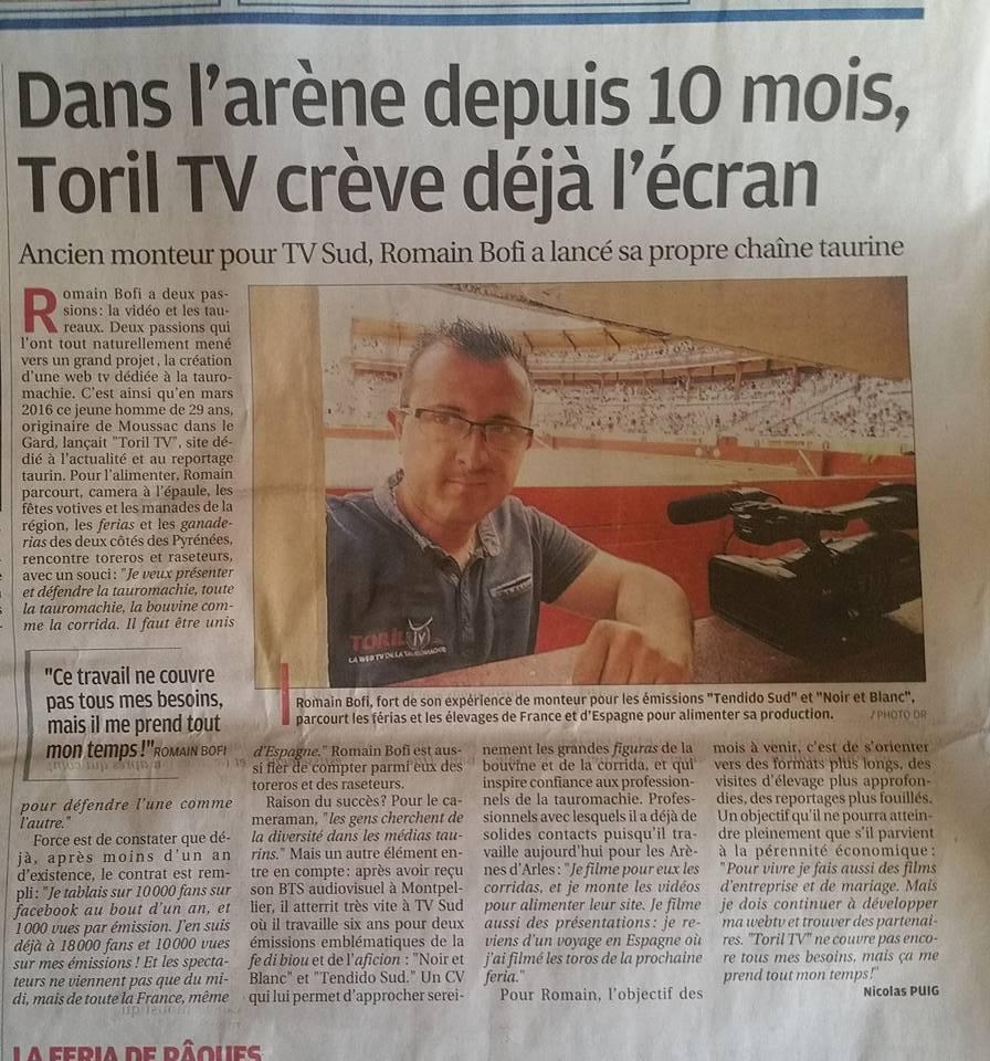Toril TV dans le journal La Provence
