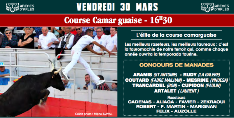 La Course Camarguaise d'ouverture de la Féria de Pâques Arles 2018
