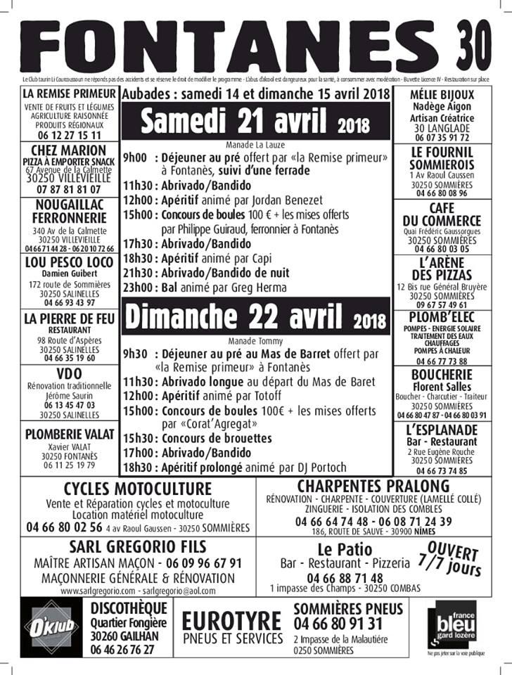FONTANES - Fête votive 21 et 22 avril 2018 @ Fontanes