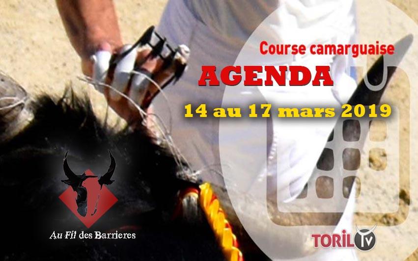 AU FIL DES BARRIERES – L'Agenda Course Camarguaise – 14 au 17 mars 2019