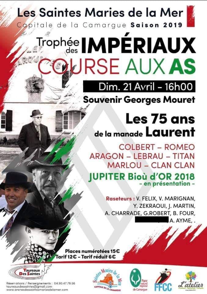 SAINTES MARIES DE LA MER – Course Camarguaise – Dimanche 21 avril 2019