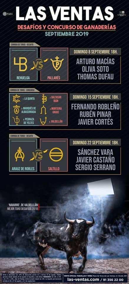 MADRID // Les cartels officiels du mois de Septembre. Retour de la corrida concours et présence de Thomas Dufau.