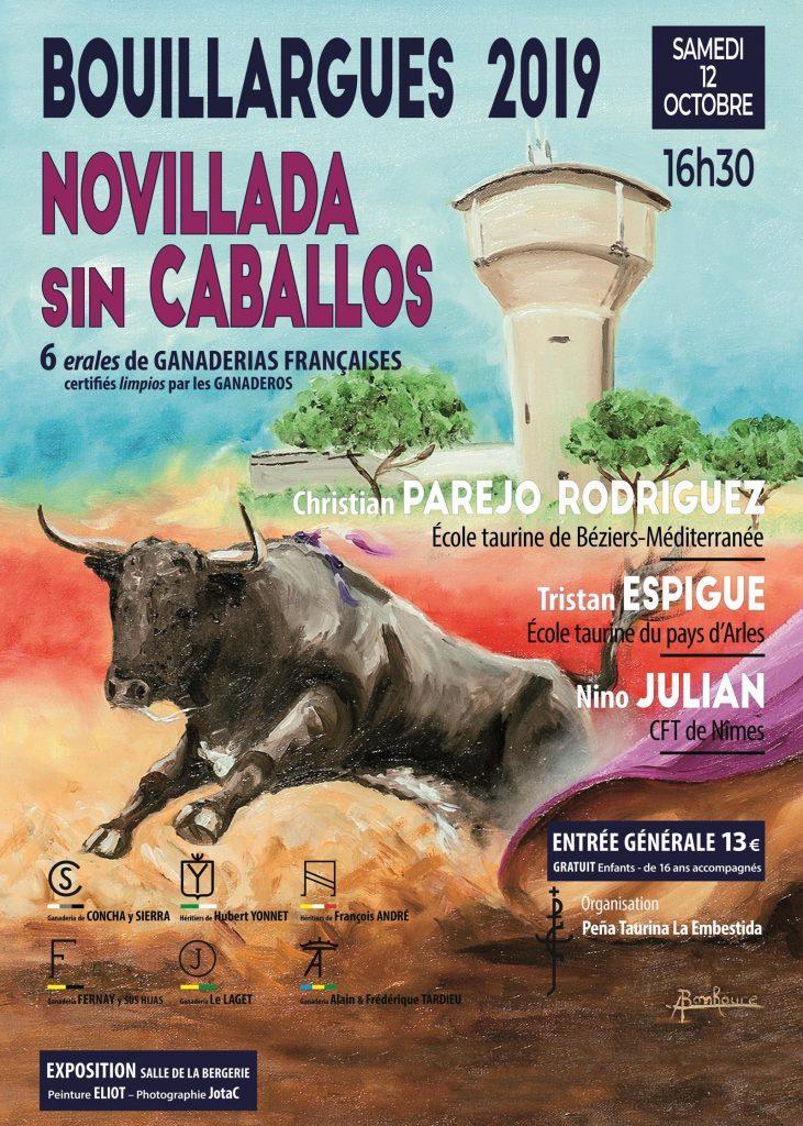 BOUILLARGUES // Cartel officiel de la novillada sans picadors du 12 octobre 2019
