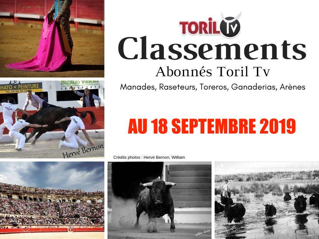 CLASSEMENTS ABONNÉS TORIL TV au 18/09/2019 // Manades, Raseteurs ,Toreros , Ganaderias et Arènes
