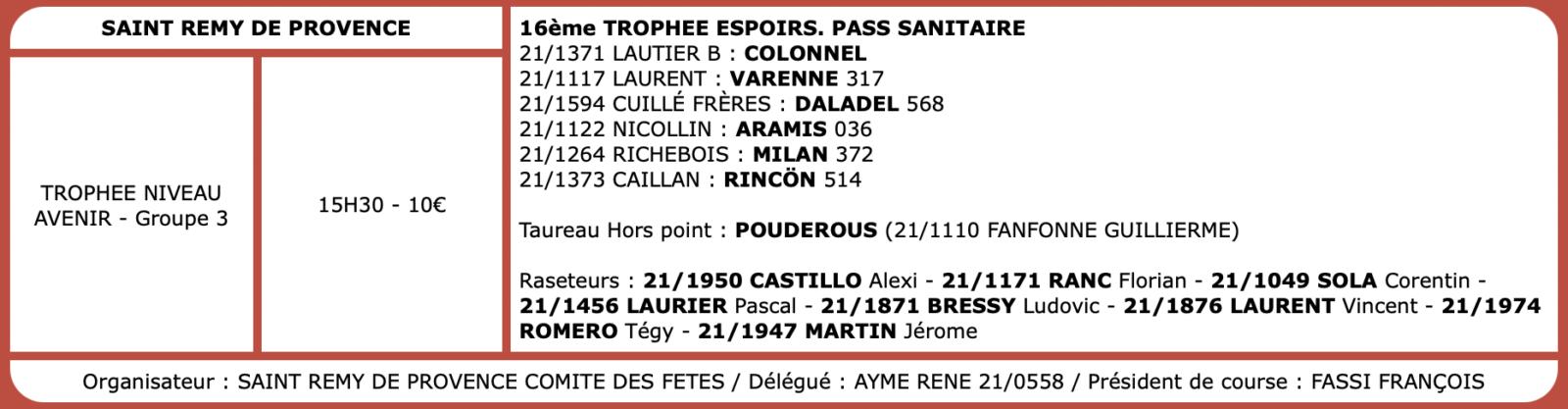 Courses camarguaises du 27 septembre